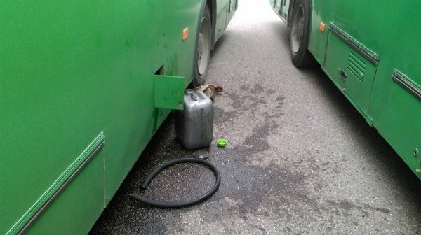В Гродно задержали водителей автобусов, которые сливали топливо прямо на автовокзале