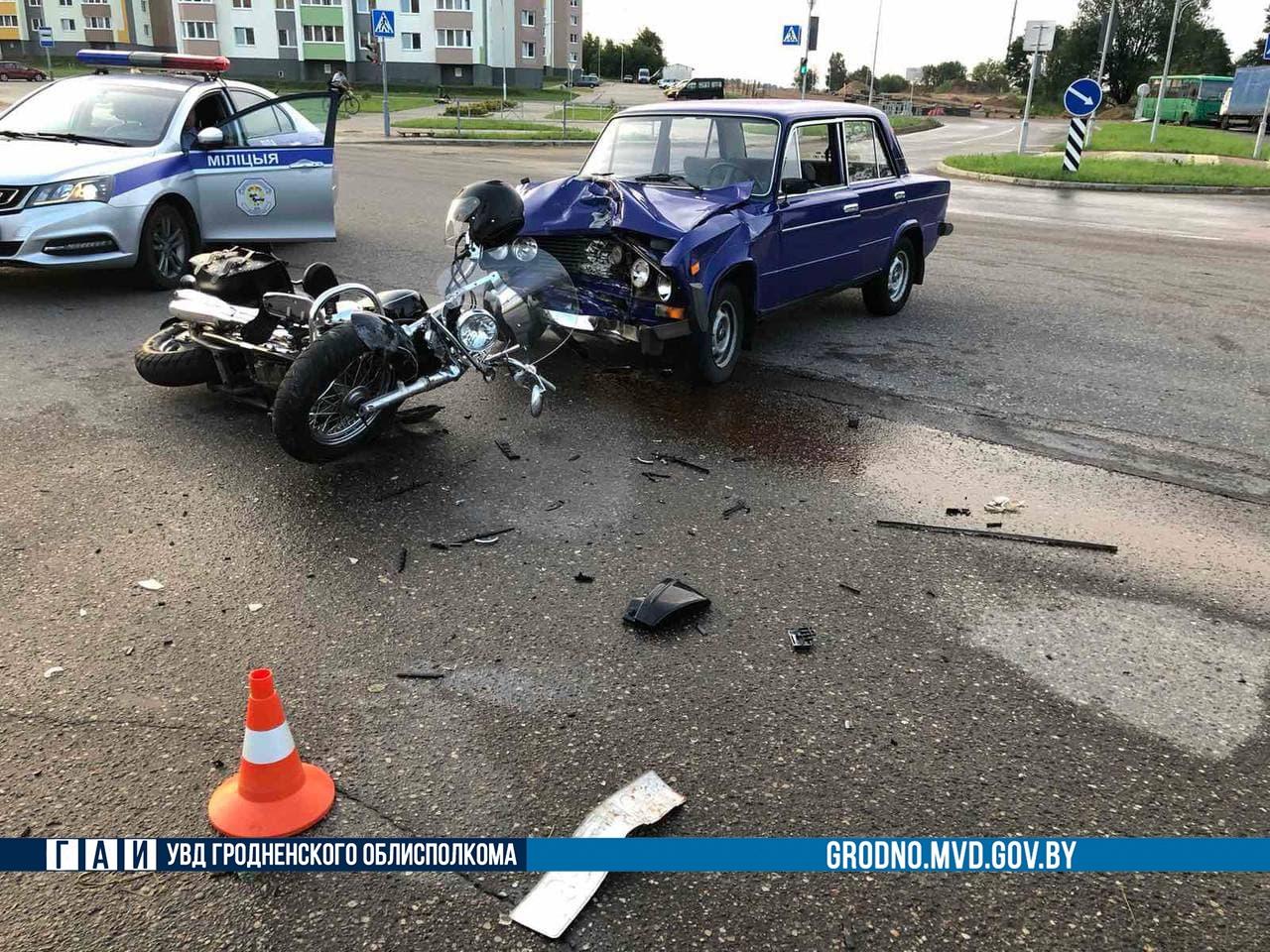 В Лиде мотоциклист столкнулся с автомобилем